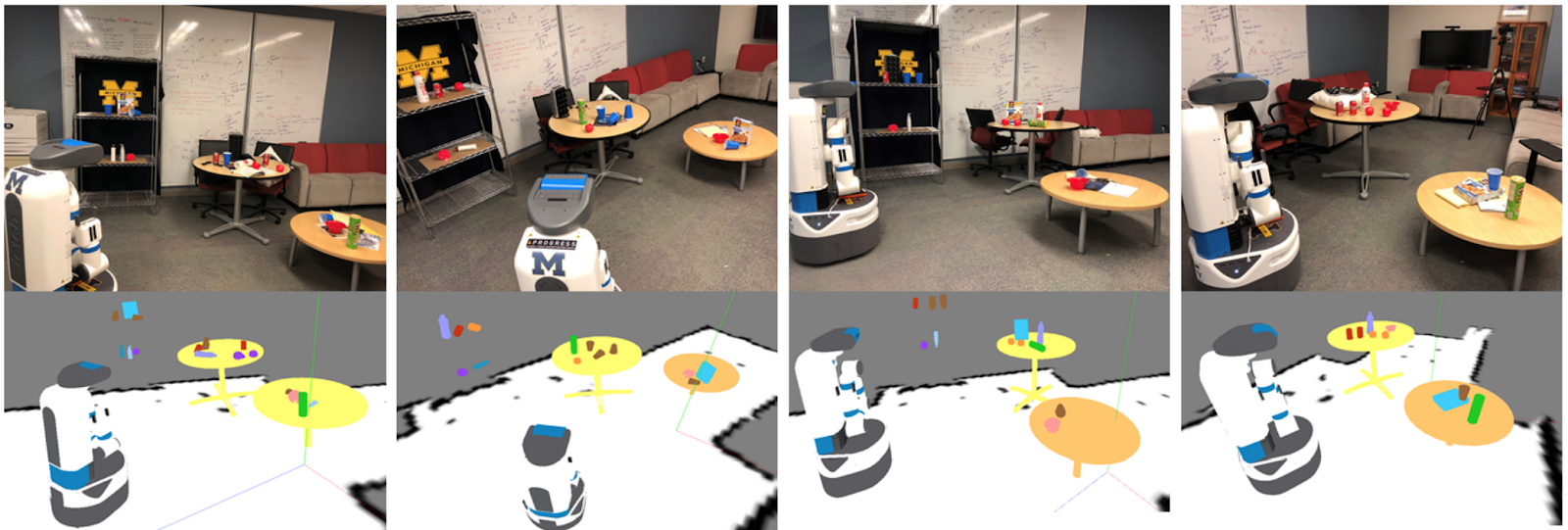Figure 8: Robot semantically maps a student lounge in four different visits. Each column shows an RGB snapshot of the environment, together with the corresponding semantic map composed by the detected and localized objects. We model contextual relations between objects and temporal consistency of object locations. Video link: https://www.youtube.com/watch?v=W-6ViSlrrZg